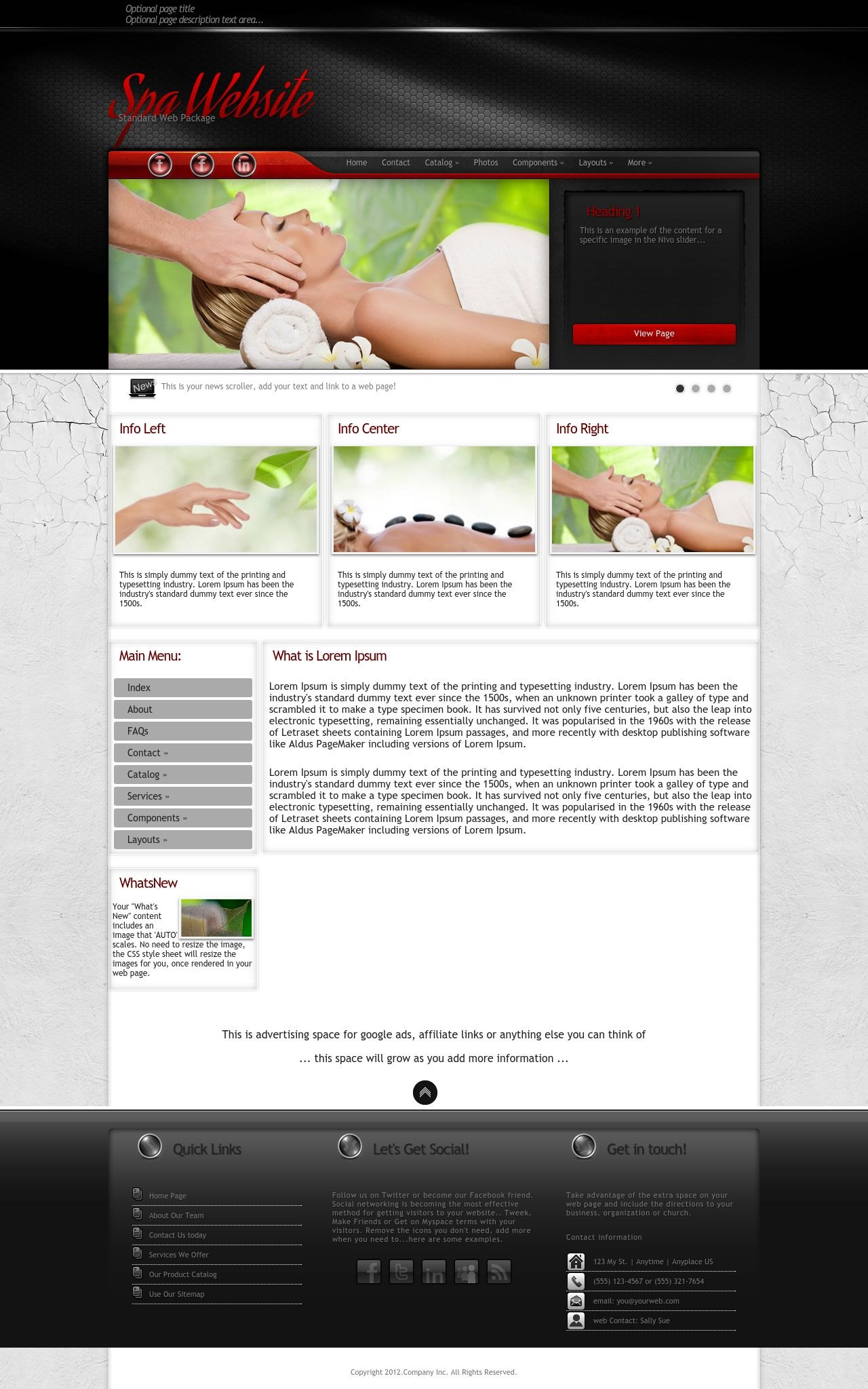 Experience Spa Red Black Spa Web Template