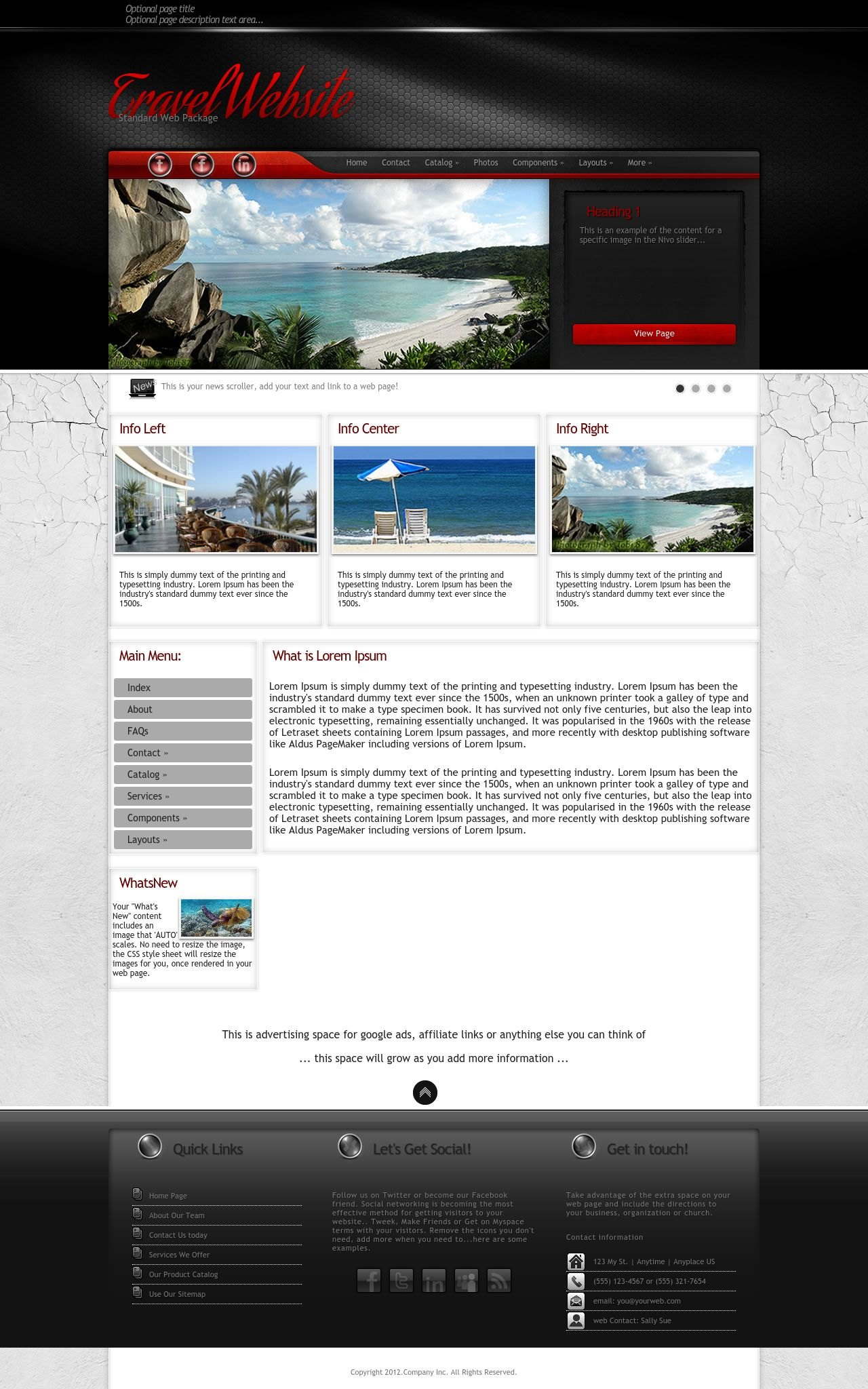 Experience travel red black travel dreamweaver template for Dream weaver template