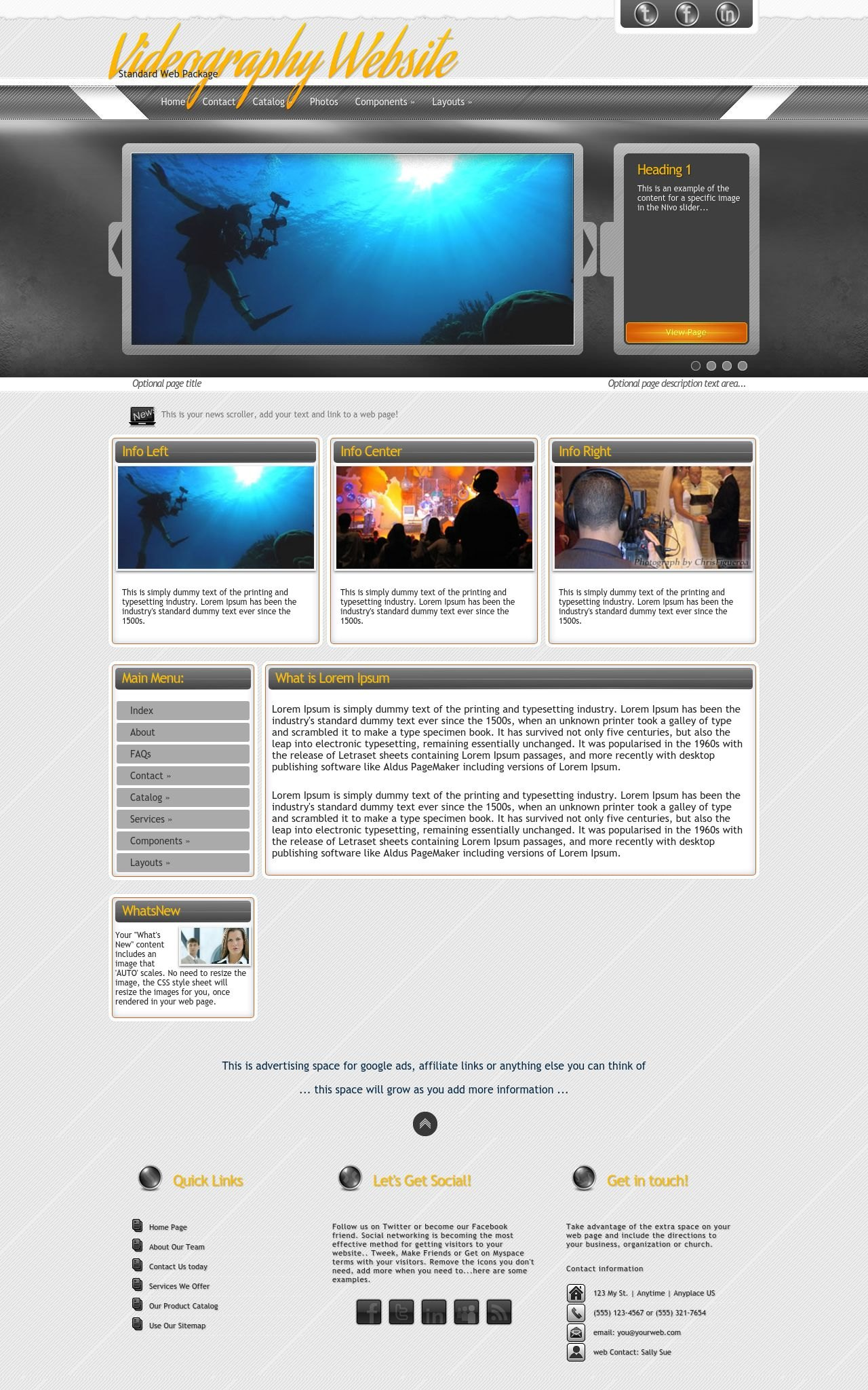 Desktop: Videography Wordpress Theme