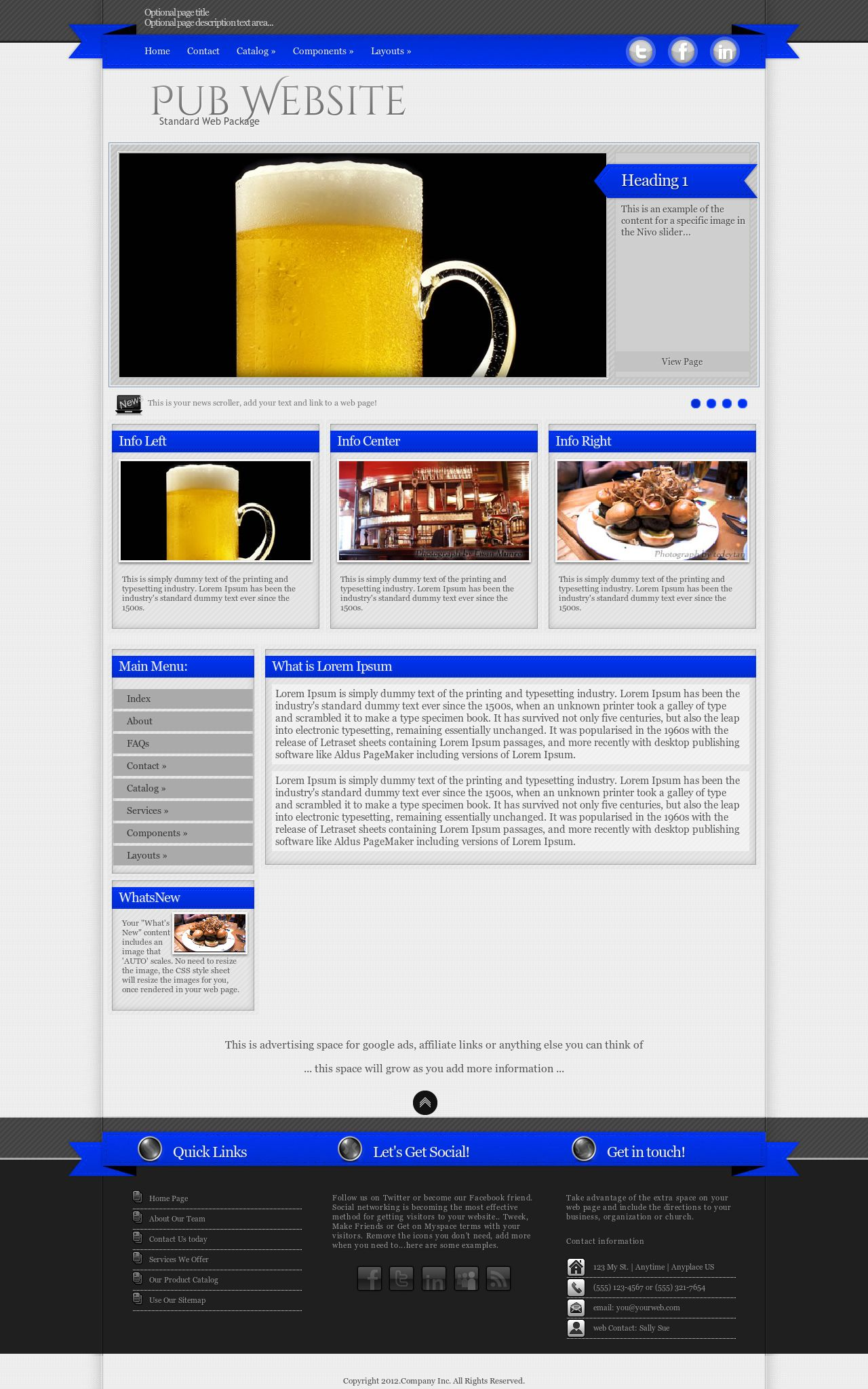 Tablet: Pub Web Template
