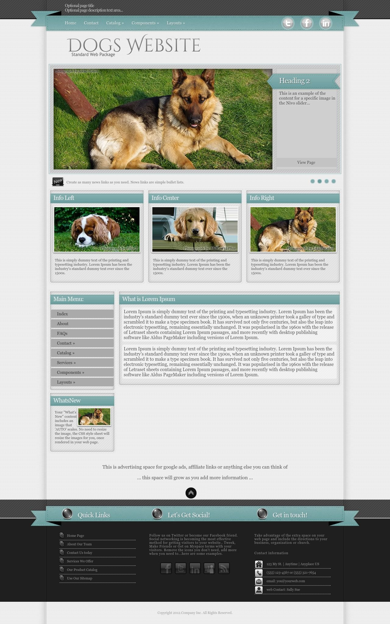 Tablet: Dogs Web Template