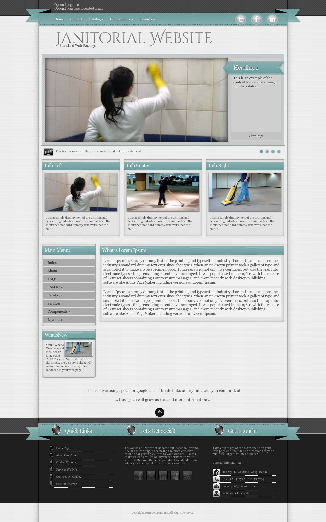 Tablet: Janitorial Wordpress Theme