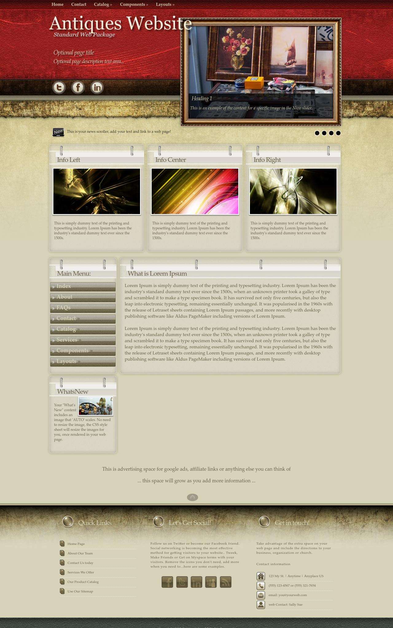 Tablet: Antiques Web Template