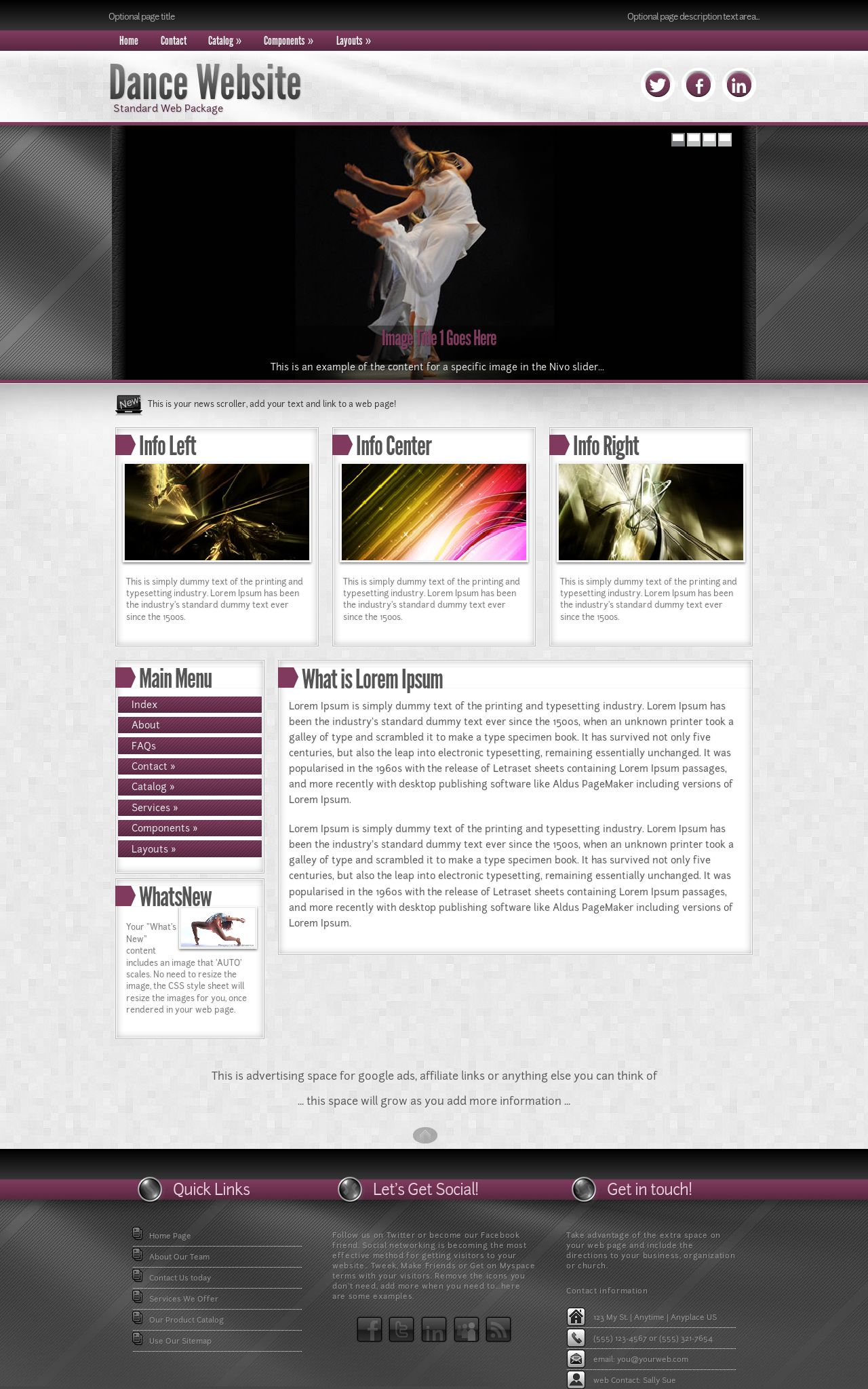 Tablet: Dance Web Template