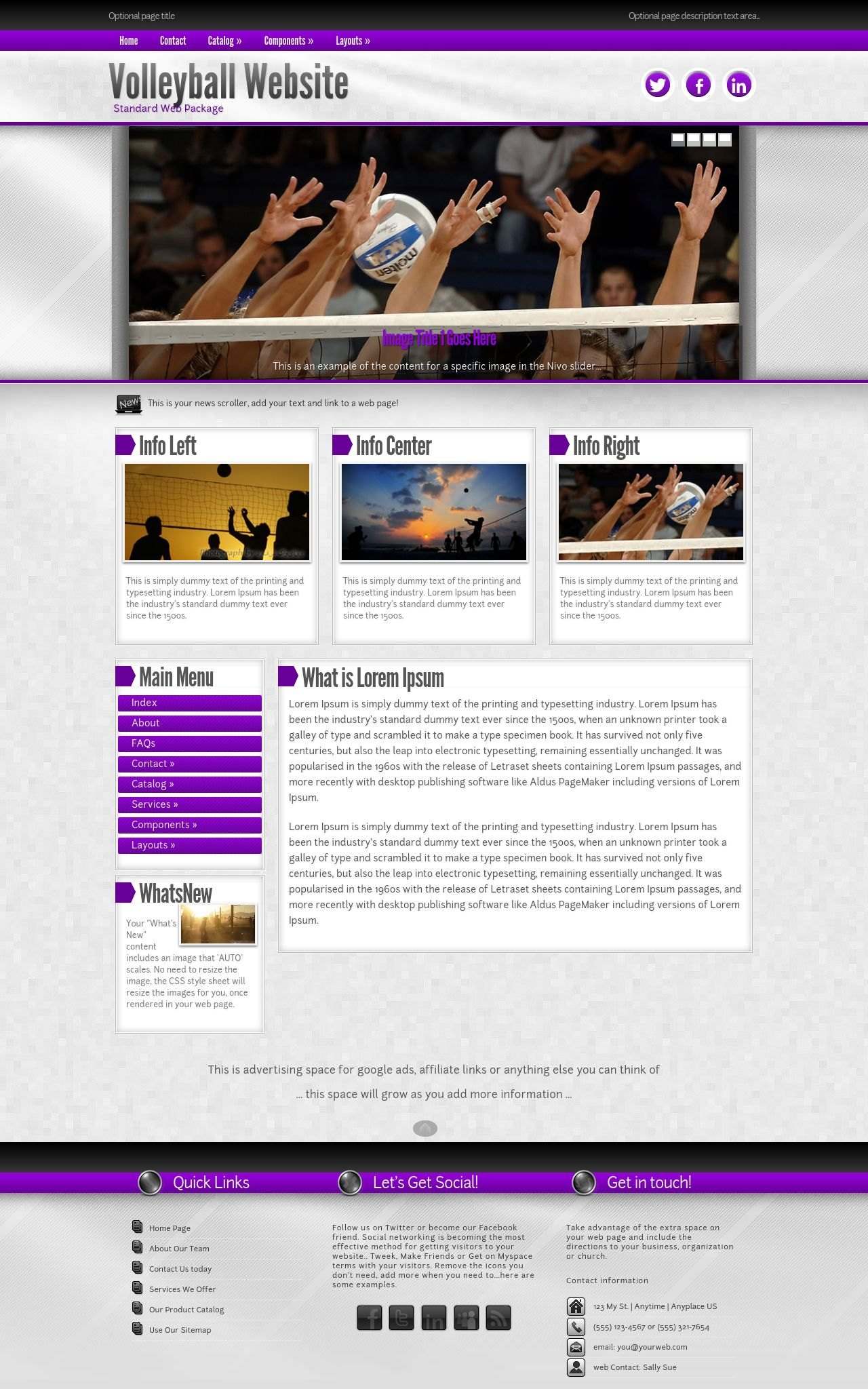 Impression Volleyball Purple/Grey2 | Volleyball Web Template