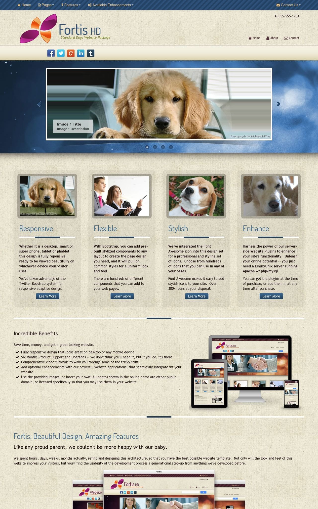 Tablet: Dogs Dreamweaver Template