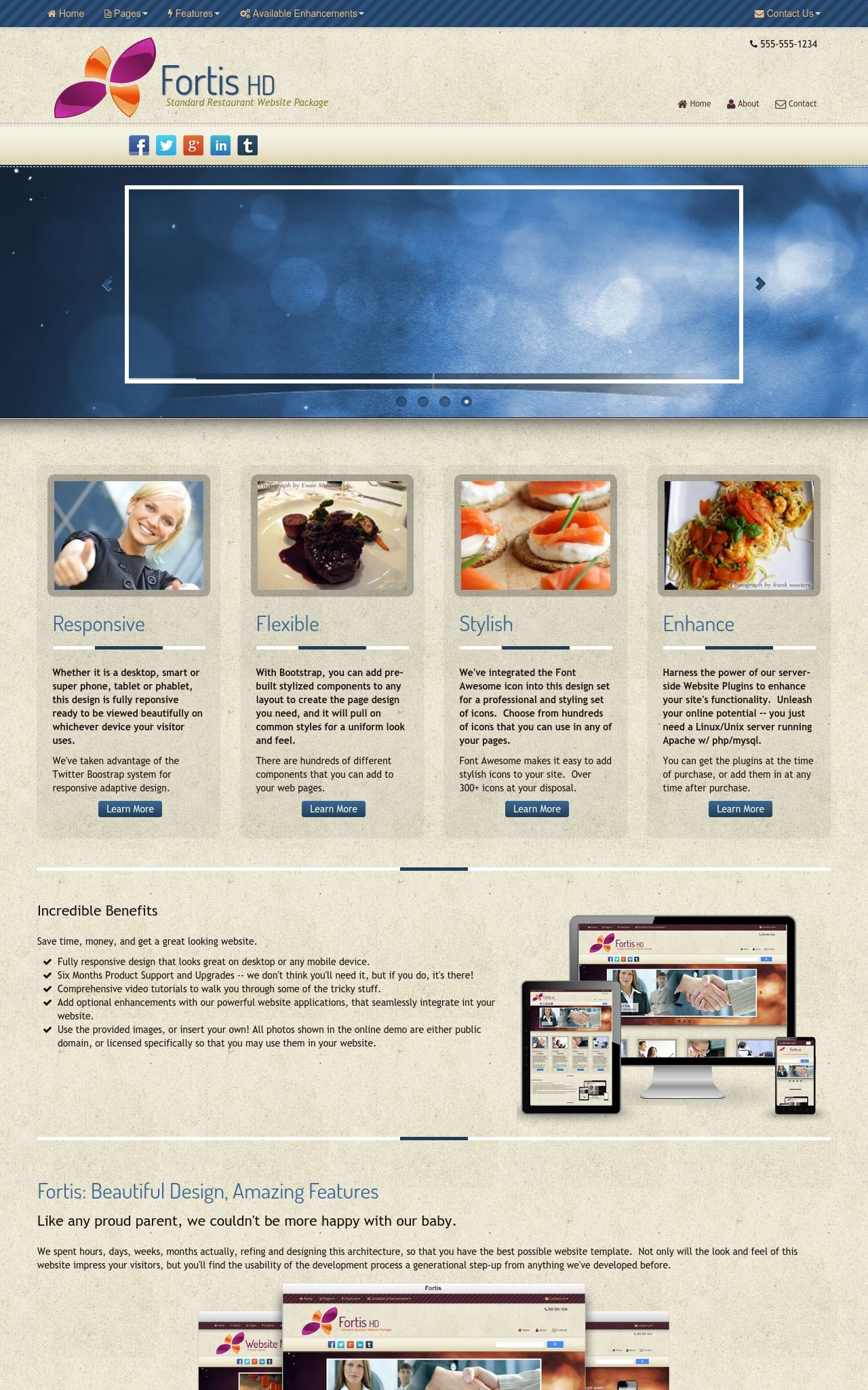 Desktop: Restaurant Wordpress Theme