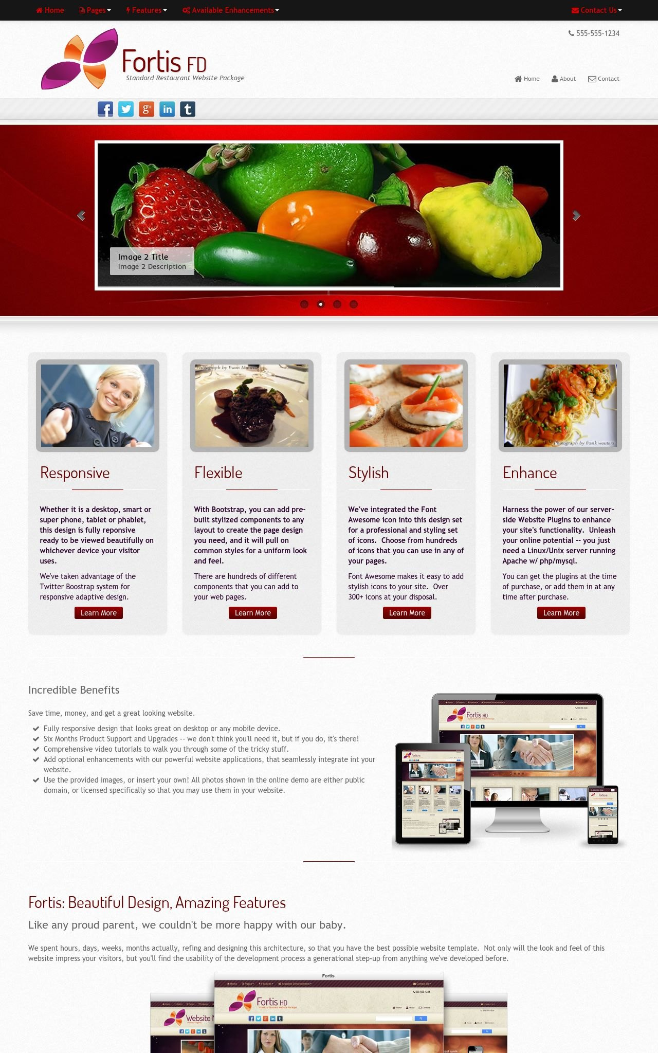 Tablet: Restaurant Web Template