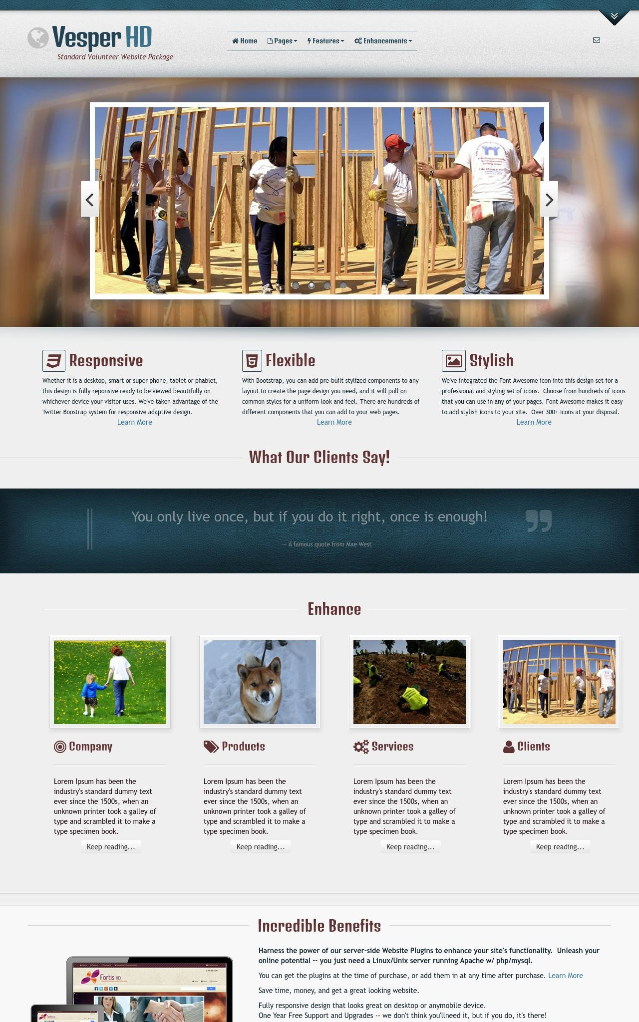 Desktop: Volunteer Wordpress Theme