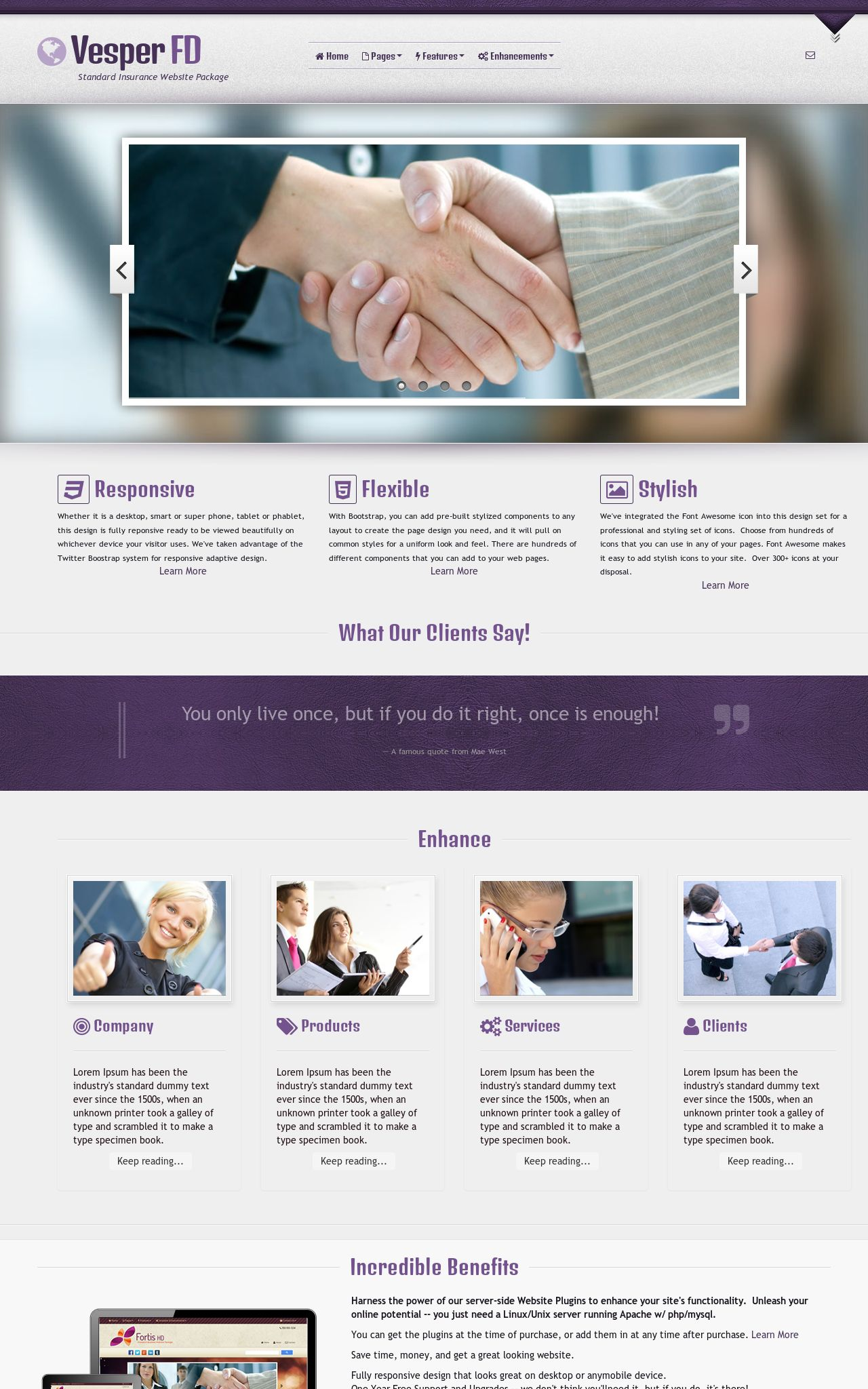 Desktop: Insurance Wordpress Theme
