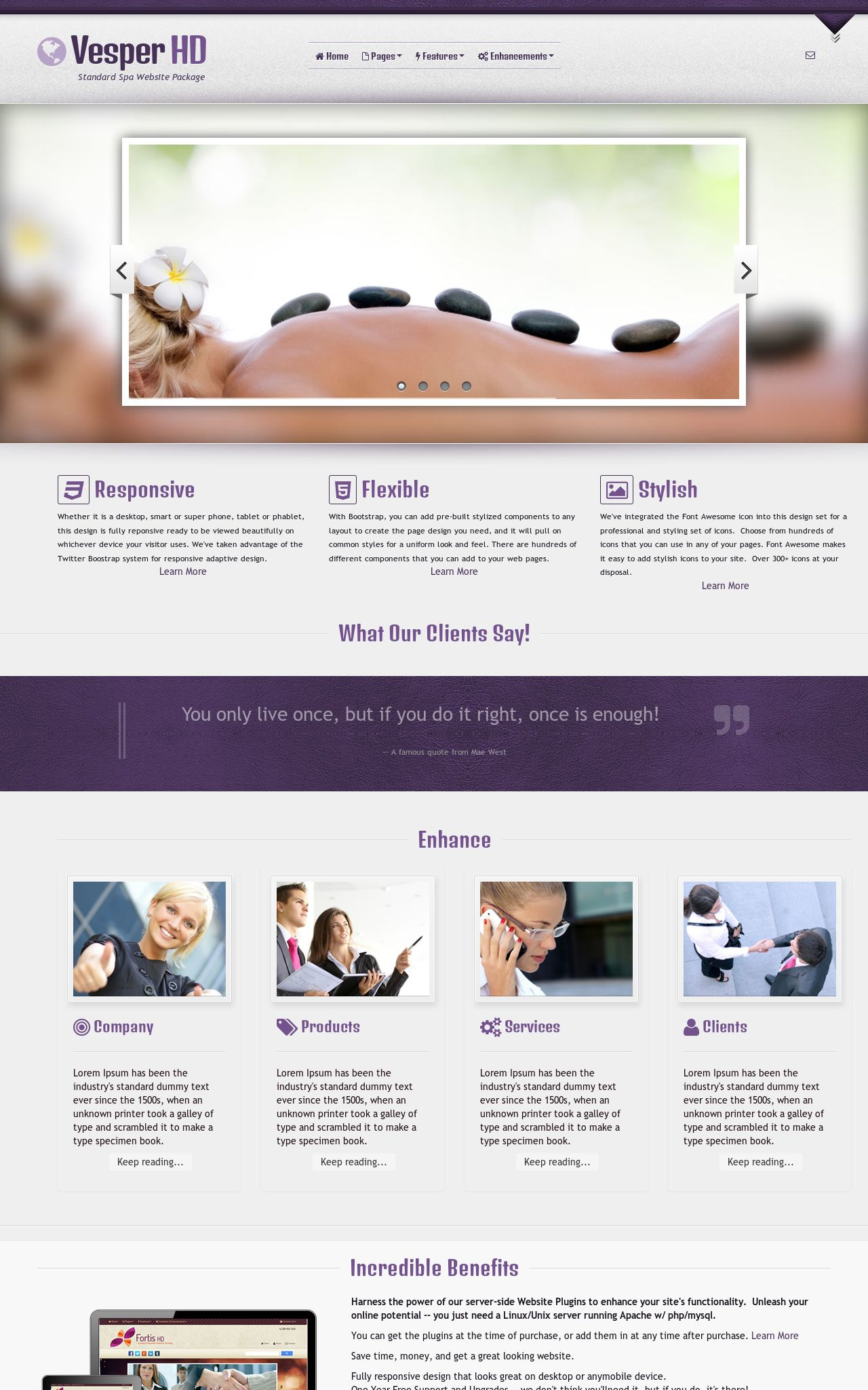 Tablet: Spa Web Template