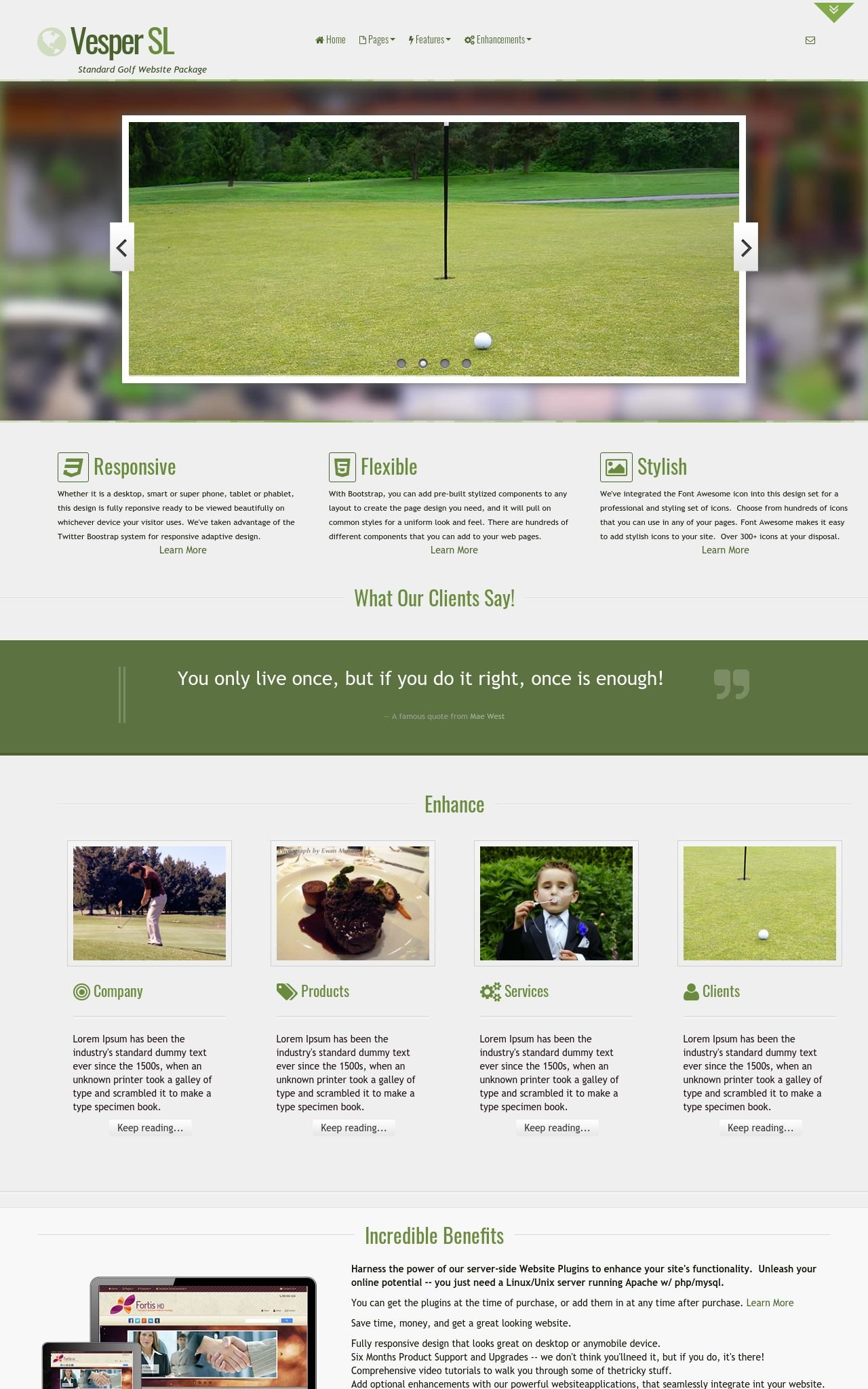 Tablet: Golf Web Template