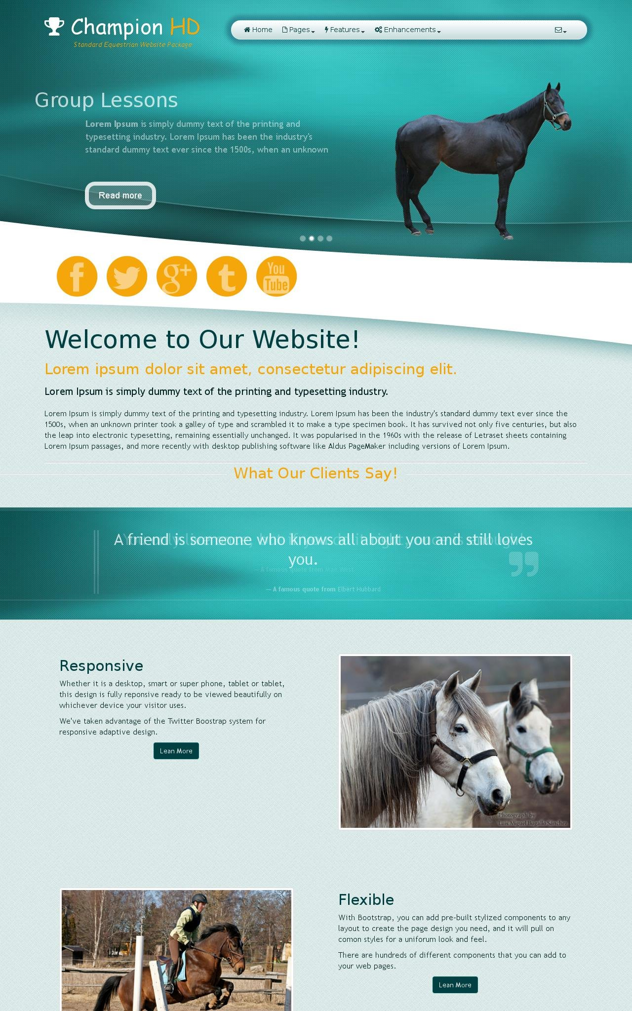 Tablet: Equestrian Web Template