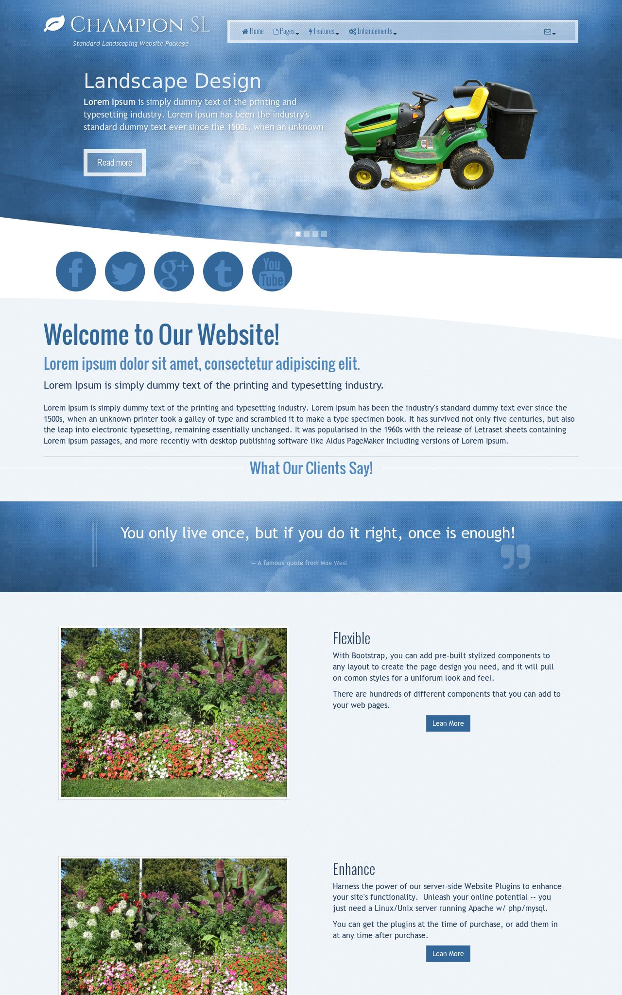 Tablet: Landscaping Web Template