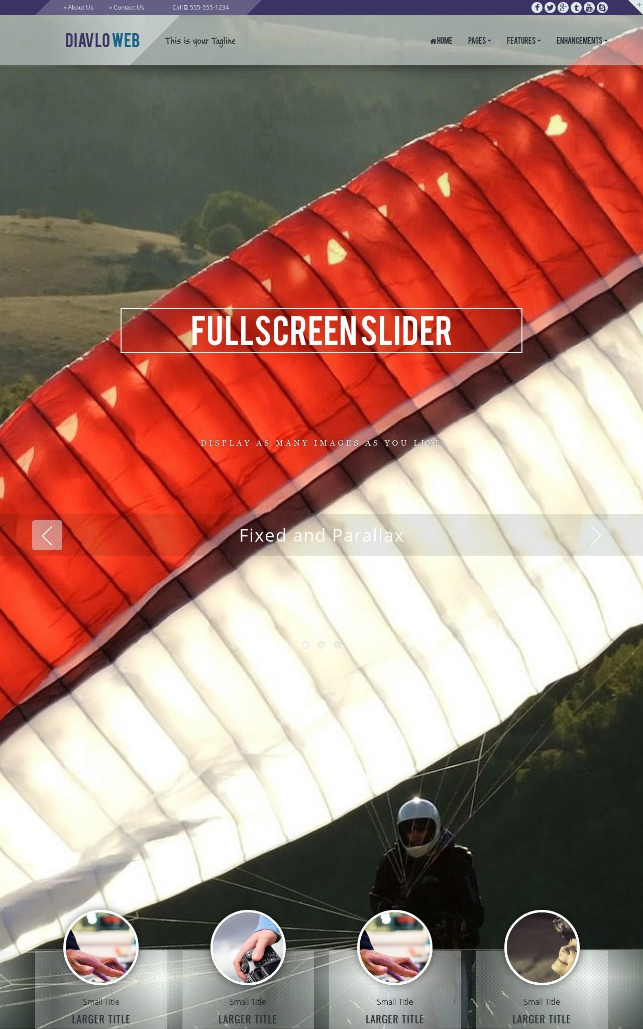 Tablet: Sky-diving Web Template