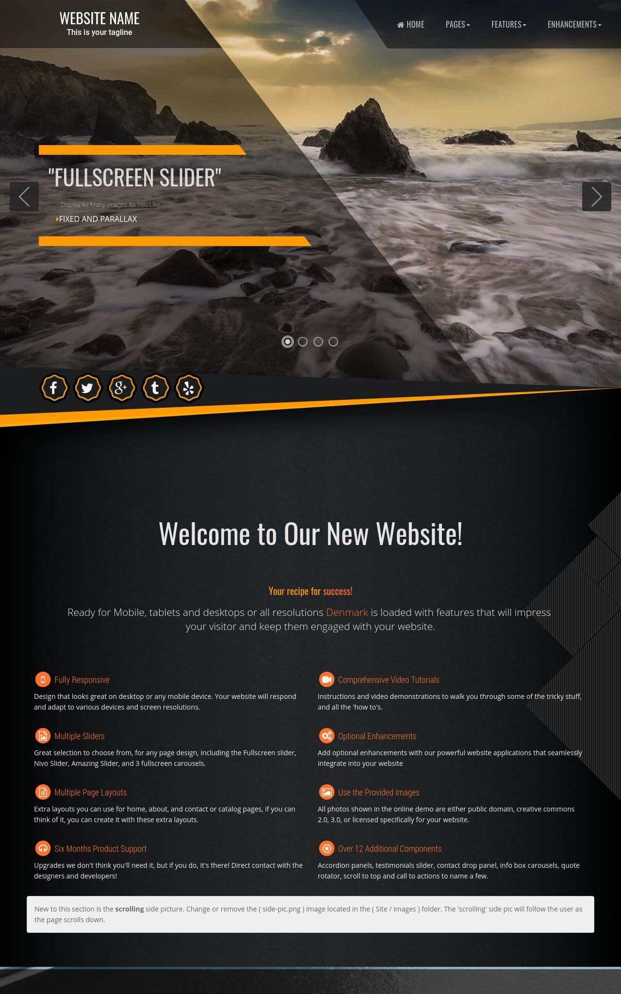Denmark [FD] Multi-purpose Orange/Black | Multi-purpose Web Template