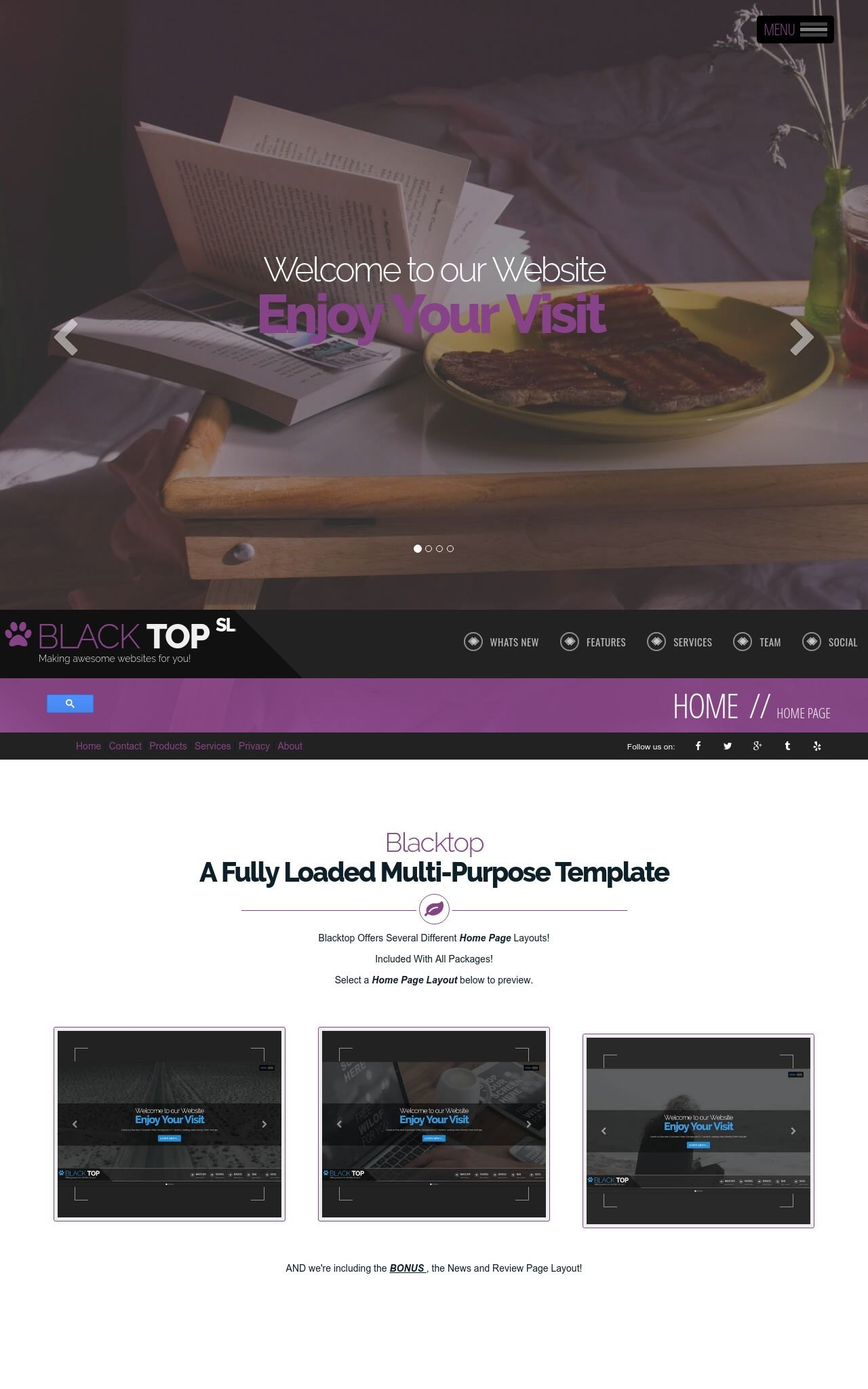Tablet: Bed-and-breakfast Web Template