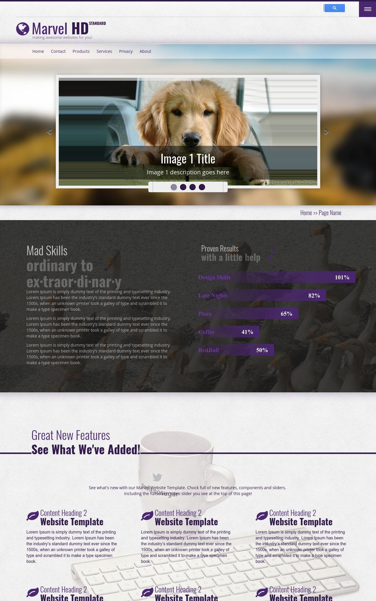 Marvel [HD] Dogs Purple/Grey | Dogs Dreamweaver Template