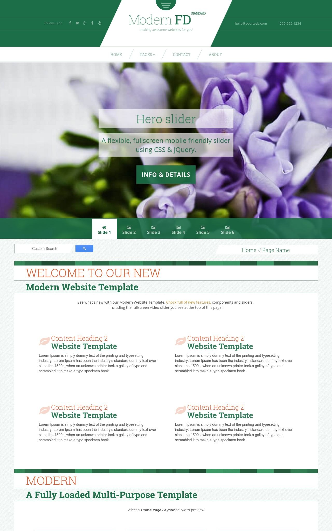 modern fd floral green white3 floral frontpage template