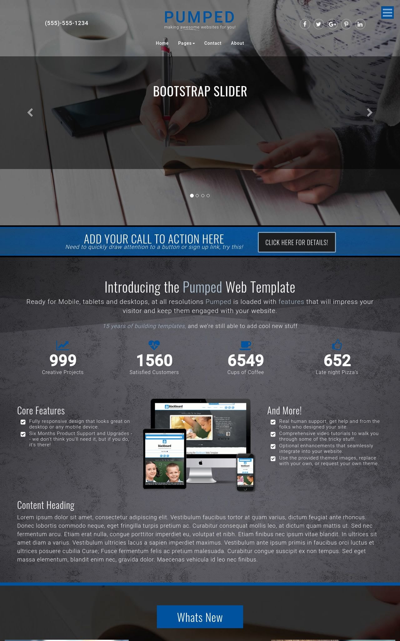 Pumped [HD] Business Blue/Black3 | Business Dreamweaver Template