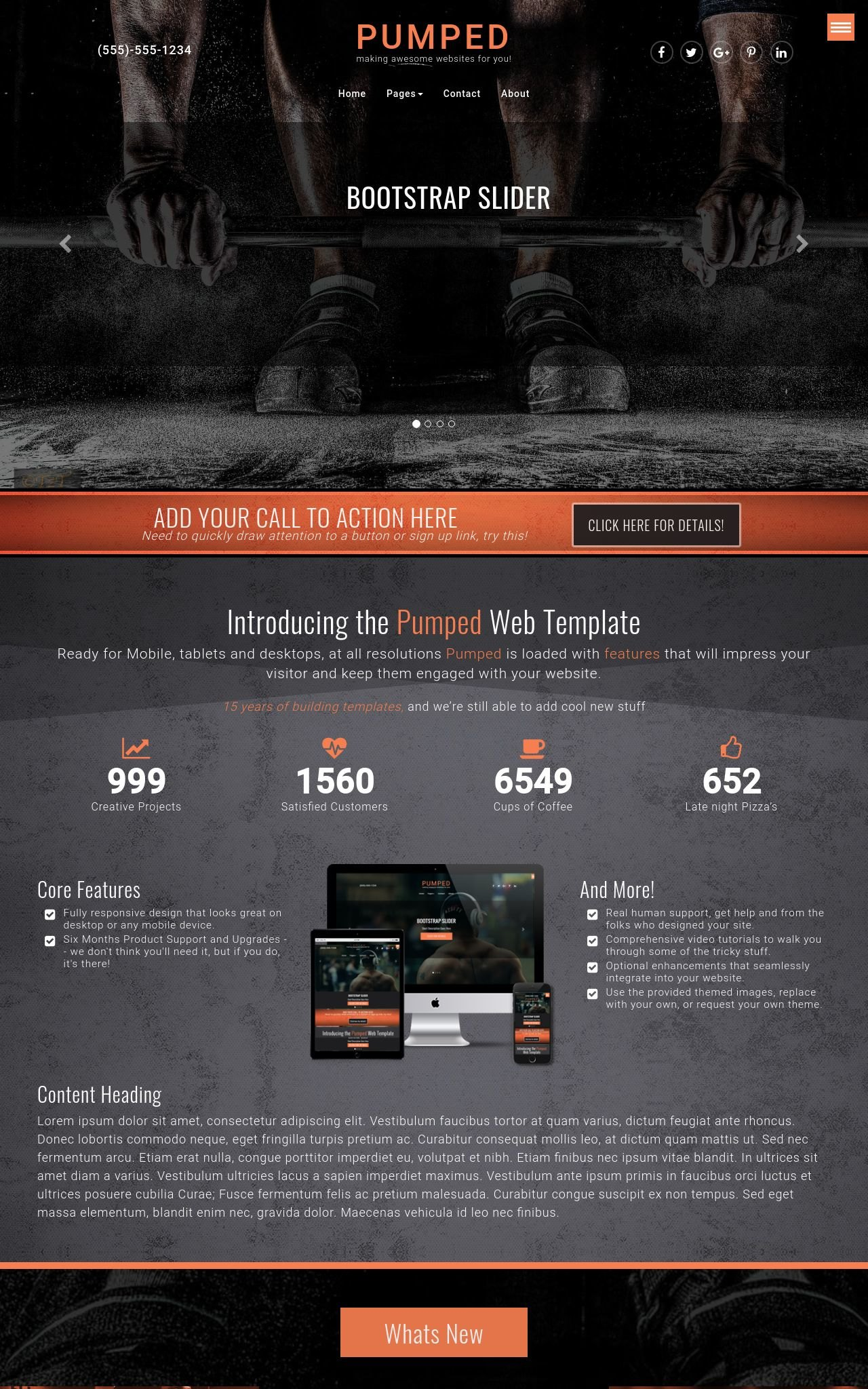 Pumped [HD] Fitness Orange/Black | Fitness Web Template
