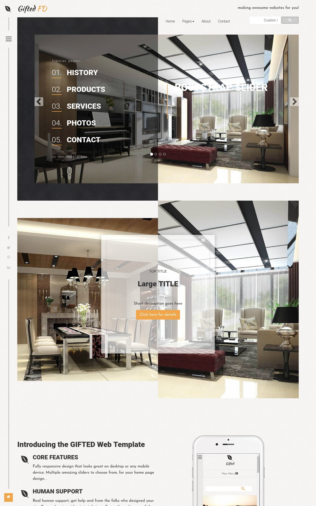 Tablet: Interior-design Web Template