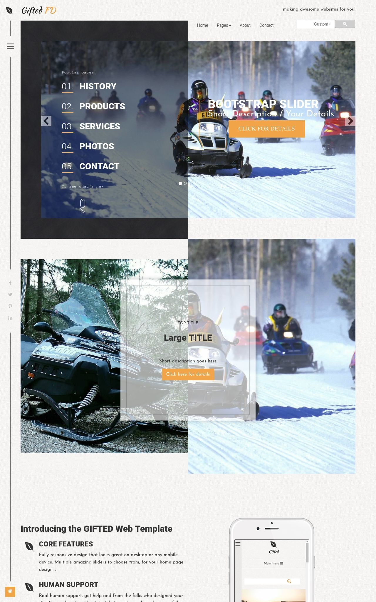 Desktop: Snowmobile Web Template