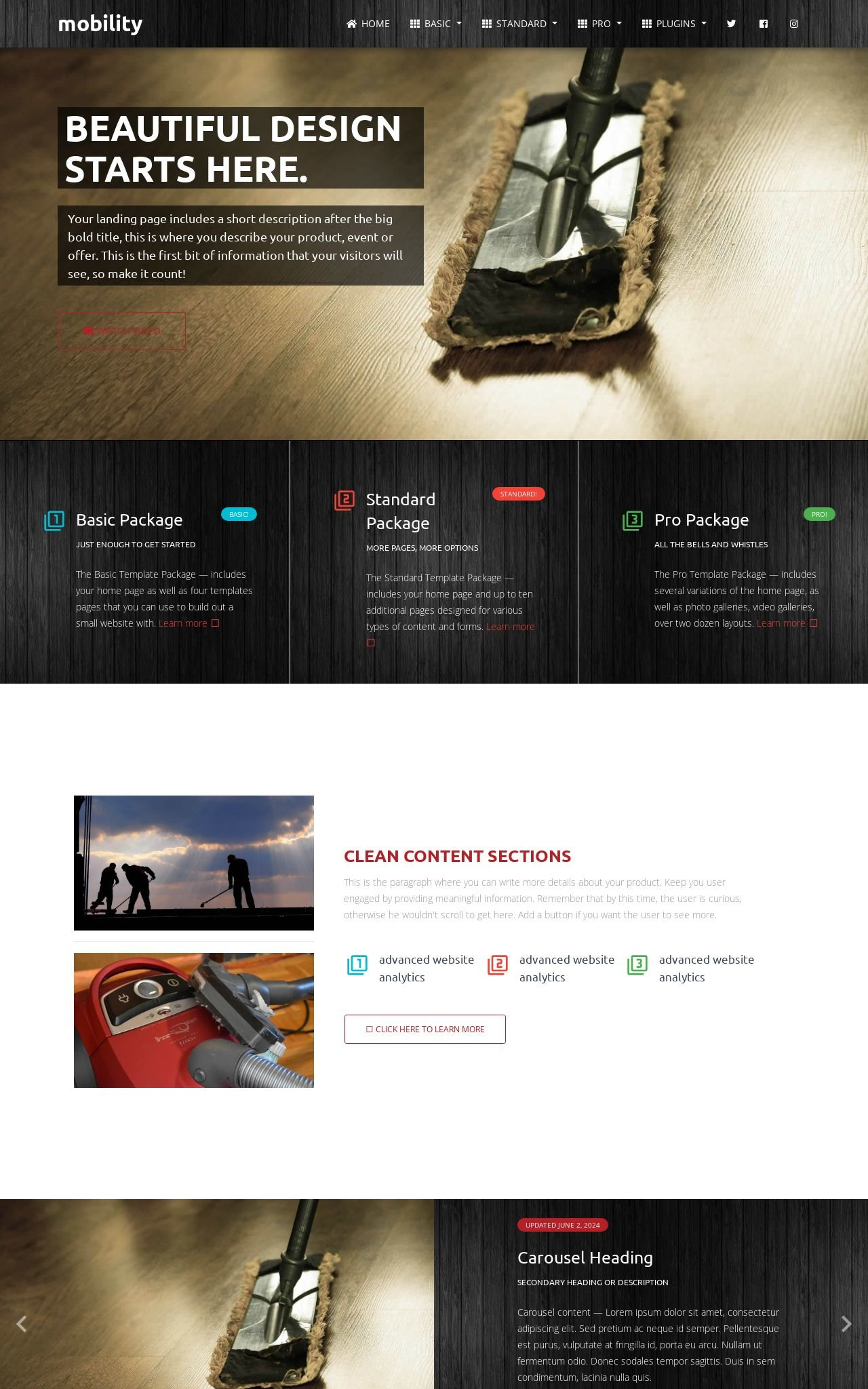 Tablet: Janitorial Web Template